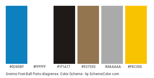 Gremio Foot-Ball Porto Alegrense - Color scheme palette thumbnail - #0d80bf #ffffff #1f1a17 #937550 #abaaaa #f8c300