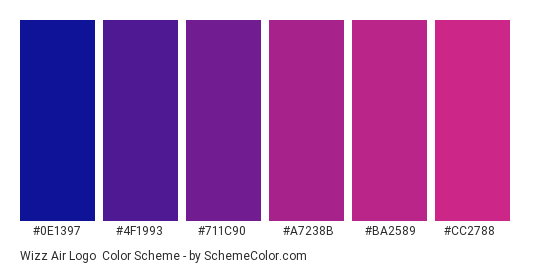 Wizz Air Logo - Color scheme palette thumbnail - #0e1397 #4f1993 #711c90 #a7238b #ba2589 #cc2788