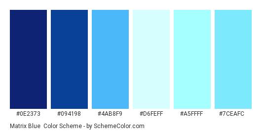 Matrix Blue - Color scheme palette thumbnail - #0e2373 #094198 #4ab8f9 #d6feff #a5ffff #7ceafc