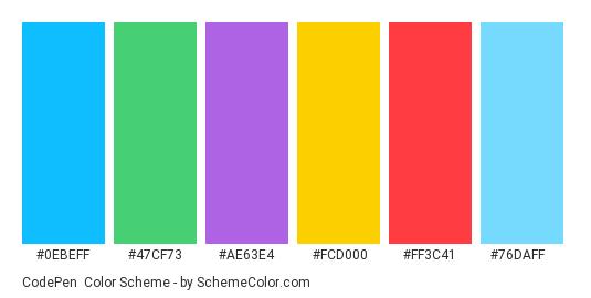 CodePen - Color scheme palette thumbnail - #0ebeff #47cf73 #ae63e4 #fcd000 #ff3c41 #76daff