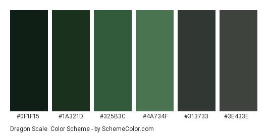 Dragon Scale - Color scheme palette thumbnail - #0f1f15 #1a321d #325b3c #4a734f #313733 #3e433e