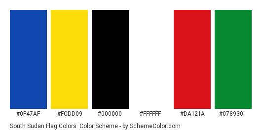 South Sudan Flag Colors - Color scheme palette thumbnail - #0f47af #fcdd09 #000000 #ffffff #da121a #078930