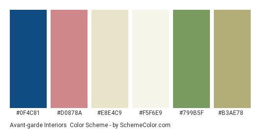 Avant-garde Interiors - Color scheme palette thumbnail - #0f4c81 #d0878a #e8e4c9 #f5f6e9 #799b5f #b3ae78