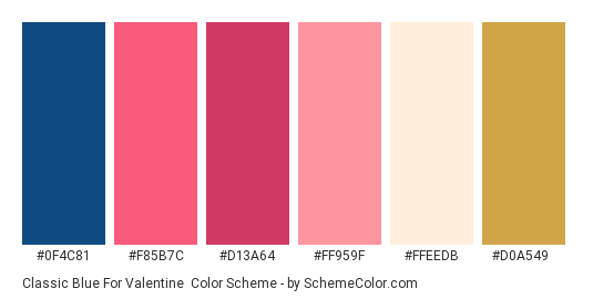 Classic Blue for Valentine - Color scheme palette thumbnail - #0f4c81 #f85b7c #d13a64 #ff959f #ffeedb #d0a549