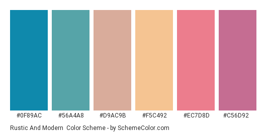 Rustic and Modern - Color scheme palette thumbnail - #0f89ac #56a4a8 #d9ac9b #f5c492 #ec7d8d #c56d92