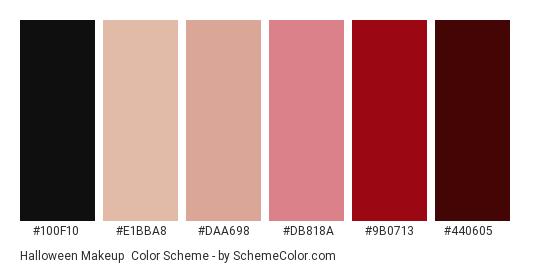 Halloween Makeup - Color scheme palette thumbnail - #100f10 #e1bba8 #daa698 #db818a #9b0713 #440605