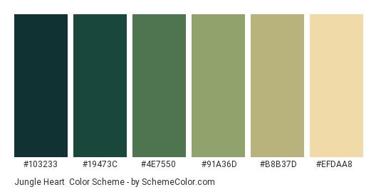 Jungle Heart - Color scheme palette thumbnail - #103233 #19473c #4e7550 #91a36d #b8b37d #efdaa8