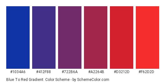 Blue to Red Gradient - Color scheme palette thumbnail - #1034A6 #412F88 #722B6A #A2264B #D3212D #F62D2D