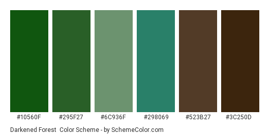 Darkened Forest - Color scheme palette thumbnail - #10560f #295f27 #6c936f #298069 #523b27 #3c250d