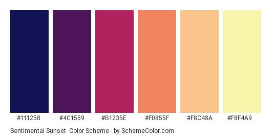 Sentimental Sunset - Color scheme palette thumbnail - #111258 #4c1559 #b1235e #f0855f #f8c48a #f8f4a9