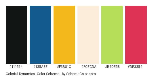 Colorful Dynamics - Color scheme palette thumbnail - #111514 #135a8e #f3b81c #fcecda #b6de58 #de3354