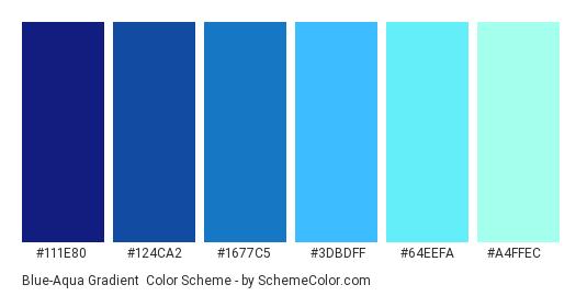 Blue-Aqua Gradient - Color scheme palette thumbnail - #111e80 #124ca2 #1677c5 #3dbdff #64eefa #a4ffec
