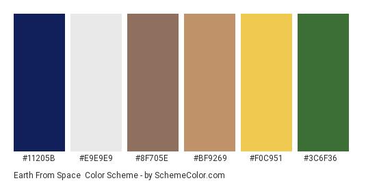 Earth from Space - Color scheme palette thumbnail - #11205b #e9e9e9 #8f705e #bf9269 #f0c951 #3c6f36