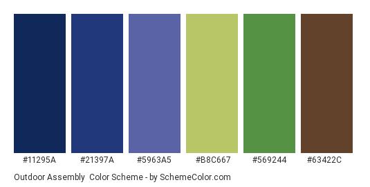 Outdoor Assembly - Color scheme palette thumbnail - #11295A #21397A #5963A5 #B8C667 #569244 #63422C
