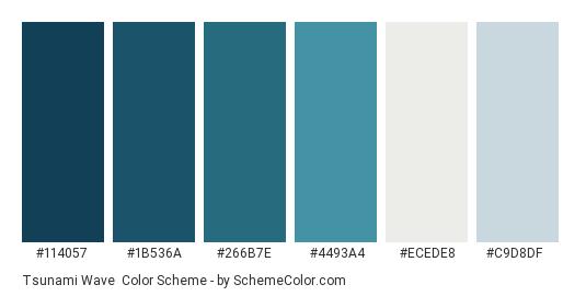 Tsunami Wave - Color scheme palette thumbnail - #114057 #1b536a #266b7e #4493a4 #ecede8 #c9d8df