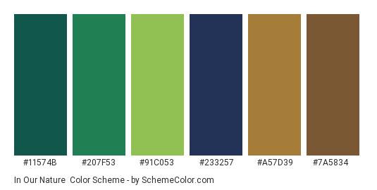 In Our Nature - Color scheme palette thumbnail - #11574b #207f53 #91c053 #233257 #a57d39 #7a5834
