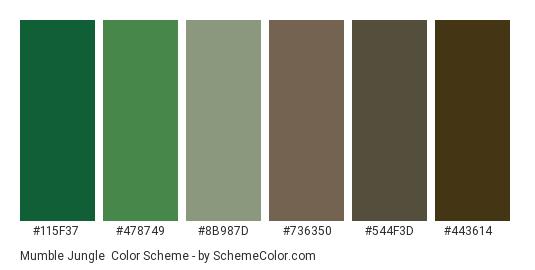 Mumble Jungle - Color scheme palette thumbnail - #115f37 #478749 #8b987d #736350 #544f3d #443614