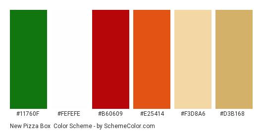 New Pizza Box - Color scheme palette thumbnail - #11760f #fefefe #b60609 #e25414 #f3d8a6 #d3b168