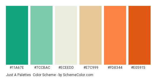 Just a Palettes - Color scheme palette thumbnail - #11A67E #7CCBAC #ECEEDD #E7C999 #FD8344 #E05915