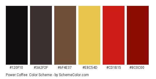 Power Coffee - Color scheme palette thumbnail - #120f10 #3a2f2f #6f4e37 #e8c54d #cd1b15 #8c0c00