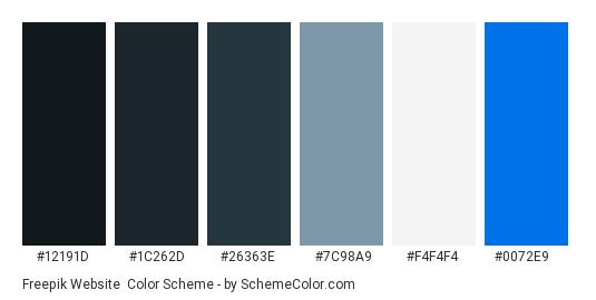 Freepik Website - Color scheme palette thumbnail - #12191D #1C262D #26363E #7C98A9 #F4F4F4 #0072E9