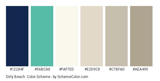 Dirty Beach - Color scheme palette thumbnail - #12284f #56bca8 #faf7ed #e2d9c8 #c7bfad #aea490
