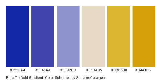Blue to Gold Gradient - Color scheme palette thumbnail - #1228a4 #3f45aa #8e92cd #e6dac5 #dbb630 #d4a10b