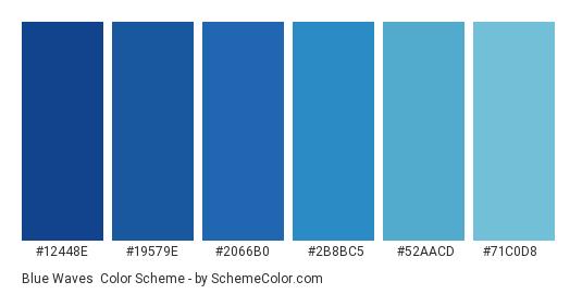 Blue Waves - Color scheme palette thumbnail - #12448e #19579e #2066b0 #2b8bc5 #52aacd #71c0d8