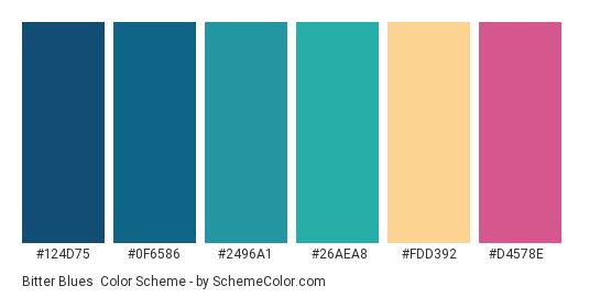 Bitter Blues - Color scheme palette thumbnail - #124d75 #0f6586 #2496a1 #26aea8 #fdd392 #d4578e