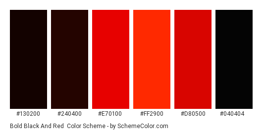 Bold Black and Red - Color scheme palette thumbnail - #130200 #240400 #e70100 #ff2900 #d80500 #040404