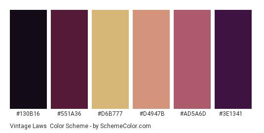 Vintage Laws - Color scheme palette thumbnail - #130B16 #551A36 #D6B777 #D4947B #ad5a6d #3E1341