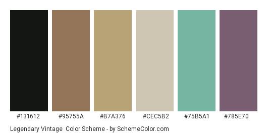 Legendary Vintage - Color scheme palette thumbnail - #131612 #95755a #b7a376 #cec5b2 #75b5a1 #785e70