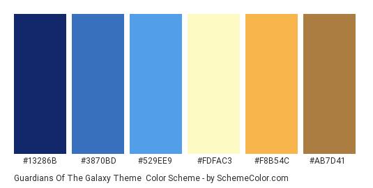 Guardians of the Galaxy Theme - Color scheme palette thumbnail - #13286B #3870BD #529EE9 #FDFAC3 #F8B54C #AB7D41
