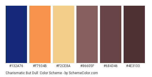 Charismatic But Dull - Color scheme palette thumbnail - #132a76 #f7934b #f2ce8a #86605f #684346 #4e3133