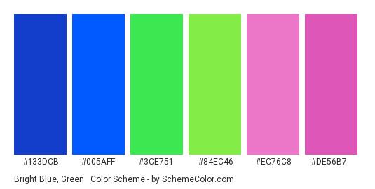 Bright Blue, Green & Pink - Color scheme palette thumbnail - #133DCB #005AFF #3CE751 #84EC46 #EC76C8 #DE56B7