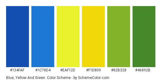 Blue, Yellow and Green - Color scheme palette thumbnail - #134FAF #1C78D4 #EAF12D #F1D809 #82B328 #46892B