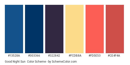 Good Night Sun - Color scheme palette thumbnail - #13528A #003366 #322842 #FCDB8A #FD5E53 #CE4F4A