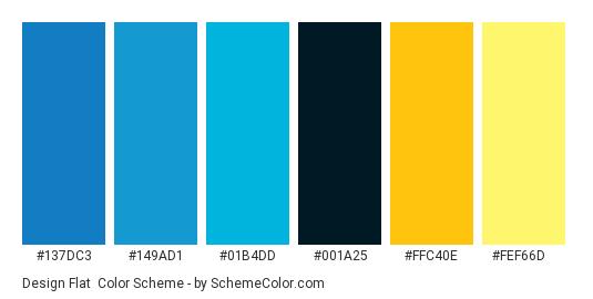 Design Flat - Color scheme palette thumbnail - #137DC3 #149AD1 #01B4DD #001A25 #FFC40E #FEF66D