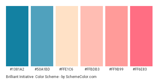 Brilliant Initiative - Color scheme palette thumbnail - #1381A2 #50A1BD #FFE1C6 #FFBDB3 #FF9B99 #FF6E83