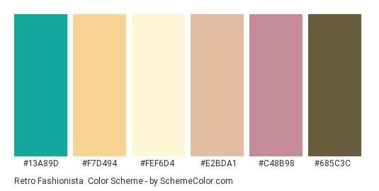 Retro Fashionista - Color scheme palette thumbnail - #13a89d #f7d494 #fef6d4 #e2bda1 #c48b98 #685c3c