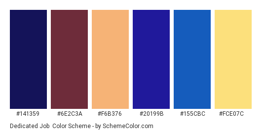 Dedicated Job - Color scheme palette thumbnail - #141359 #6e2c3a #f6b376 #20199b #155cbc #fce07c