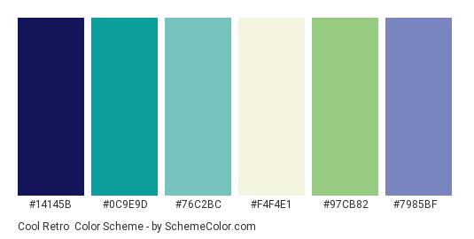 Cool Retro - Color scheme palette thumbnail - #14145b #0c9e9d #76c2bc #f4f4e1 #97cb82 #7985bf
