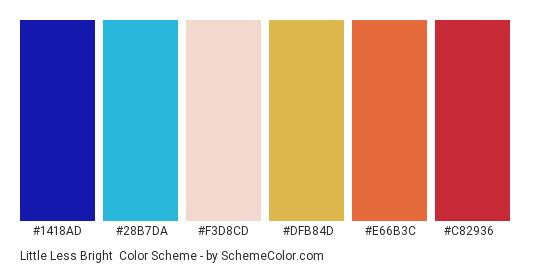Little Less Bright - Color scheme palette thumbnail - #1418ad #28b7da #f3d8cd #dfb84d #e66b3c #c82936