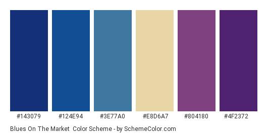 Blues on the Market - Color scheme palette thumbnail - #143079 #124e94 #3e77a0 #e8d6a7 #804180 #4f2372