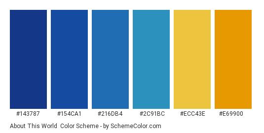About This World - Color scheme palette thumbnail - #143787 #154ca1 #216db4 #2c91bc #ecc43e #e69900