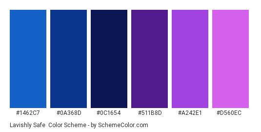 Lavishly Safe - Color scheme palette thumbnail - #1462C7 #0A368D #0C1654 #511B8D #A242E1 #D560EC