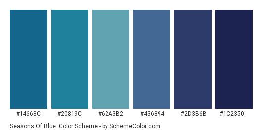 Seasons of Blue - Color scheme palette thumbnail - #14668c #20819c #62a3b2 #436894 #2d3b6b #1c2350