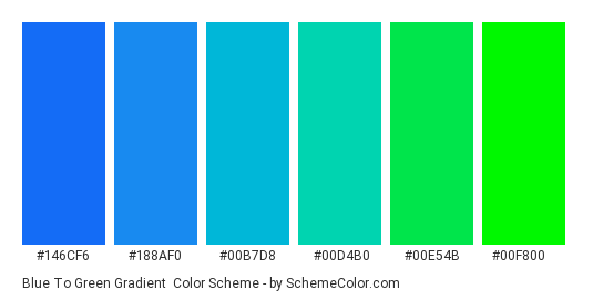 Blue to Green Gradient - Color scheme palette thumbnail - #146cf6 #188af0 #00b7d8 #00d4b0 #00e54b #00f800