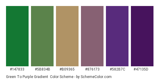 Green to Purple Gradient - Color scheme palette thumbnail - #147833 #5b834b #b09365 #876173 #582b7c #47135d