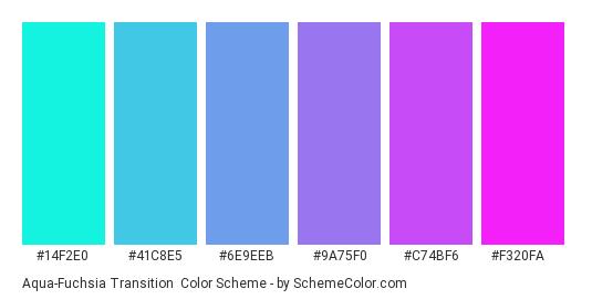 Aqua-Fuchsia Transition - Color scheme palette thumbnail - #14f2e0 #41c8e5 #6e9eeb #9a75f0 #c74bf6 #f320fa